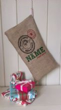 Personalized Made By Santa Father Christmas Xmas Santa Sack / Stocking Bag Jute Hessian